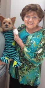 Bobbie holding dog